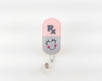 Happy Pill - Felt Badge Reel - Pharmacist ID Holder - Pharmacy Tech - Nurse Badge Reel - RN Badge Holder - Retractable Badge - RX Badge Clip
