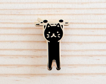 Hanging Cat Enamel Lapel Pin // black / gold / cloisonne pin / sympathy / get well soon / hang in there / encouragement / black cat pin