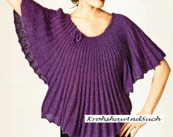 Trapeze Sweater, Plus Sizes, Knitting Pattern. PDF Instant Download.