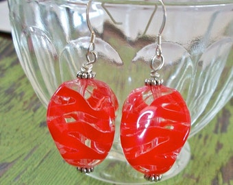 Earrings Red and Clear Zebra Striped Acrylic Bead Jewelry