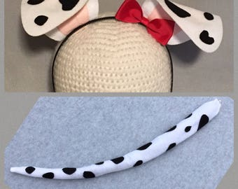 Puppy Dog Ears and Tail red bow Dalmatian birthday party favors Dalmation black and white spots headband package Halloween costume animal