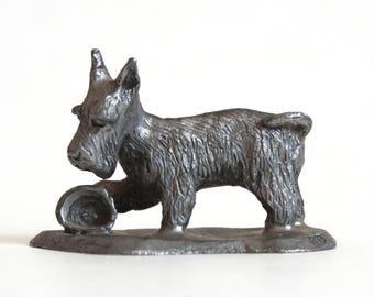 Vintage Pewter Scottie Dog Figurine, Scottish Terrier Statue by Ricker Bartlett RB, Metal Animal Paperweight