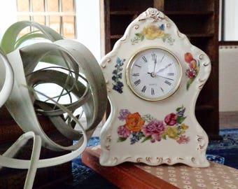 Porcelain Floral Clock | Desk Table Clock | Timeless Flower Quartz