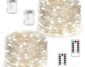 SALE!!!  2 Pack Fairy Lights Battery Operated String Lights 8 Modes 50 LED 16 ft Fairy String Lights with Remote and Timer Cool White