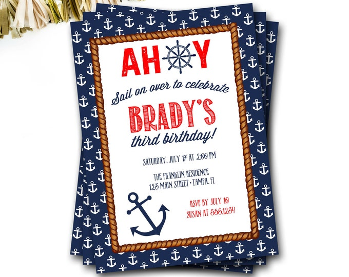 Nautical Birthday Invitation, Nautical Party, Anchor Birthday Invitation, Preppy Invitation, Nautical Invite, Boy Birthday, Ocean Birthday