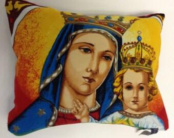 Handmade Blessed Virgin Mary & Son Pillow
