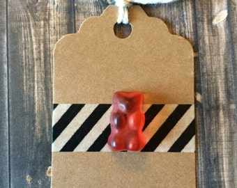Red Gummy Bear Lapel Pin - Realistic Resin Faux Candy - Tack Backing with Clutch Clasp