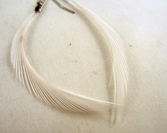 thin white feather earrings dangler natural feathers