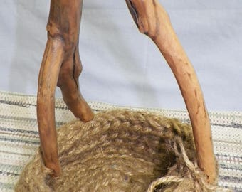 Crocheted Jute basket with wood branch handle