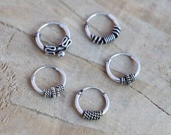 Sterling Silver Hoop Earrings | Tiny Minimalist Bali Hoops | Silver Knot Hoops | Minimalist Hoop Earrings | Silver 925 Bali Hoops | Rings