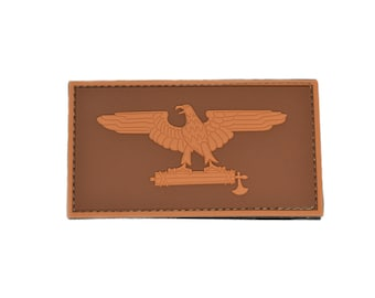 Roman Eagle PVC Patch with Hook and Loop design. Coyote and dark brown Color for a retro look.