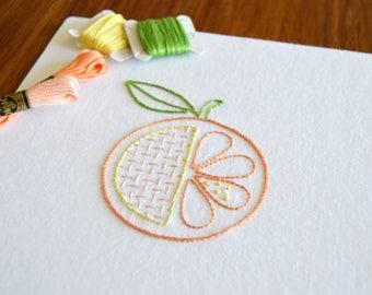 Hatchet Orange hand embroidery pattern, modern embroidery, fruit design, embroidery patterns, embroidery PDF, PDF pattern