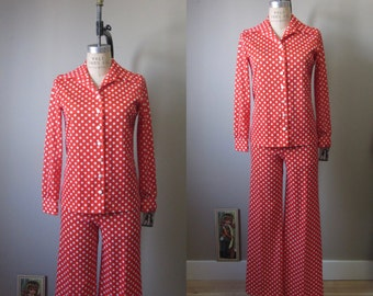 1970s red polka dot blouse & flared pant set | 70's Retro Groovy | M | Freaky Friday