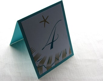 Starfish Beach Table Number - Palm Print Layered - 10 Number Cards