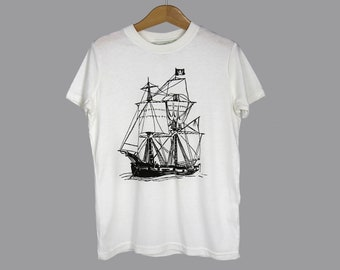 Kids bamboo tshirt, pirate ship graphic, off white, ultra soft boys girls summer shirt, gender neutral tshirt, ready to ship