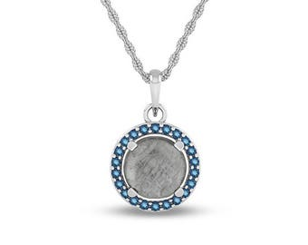 November Birthstone Pendant Necklace with Blue Topaz and Meteorite, 14k White Gold Rope Chain Necklace For Women