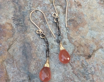 RHODOCHROSITE earrings, mixed metals with sterling silver and gold filled, salmon pink gemstone jewelry, artisan