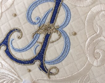 wedding ring pillow embroidery monogram bridal something blue gold padrino de cojines madrina quilted wedding shower