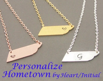 Tennessee Necklace, state necklace, TN Necklace,My Heart In Tennessee necklace,map necklace,map Jewelry,state charm, geometry necklace NB551