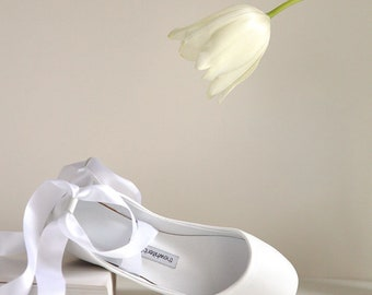 The Bridal Bolshoy White Ballet Shoes   Wedding Flats   Lace up Shoes for Brides   Swan Style Leather Ballet Flats in White   Ready to Ship