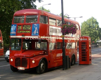 11x14 Photography Print - London Red Double-Decker Bus & Telephone Booth