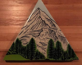 Triangle Snowy Mountain PNW Nature, Wall Art Canvas, The Great Outdoors