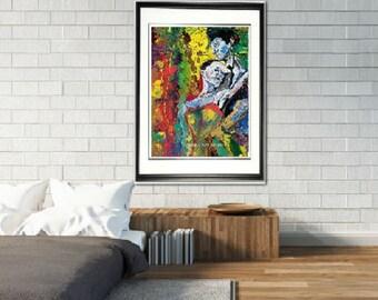 Bedroom wall art, Romantic wall art, Lovers wall art, couples wall art,  couple embracing, sexy wall art,Johno Prascak