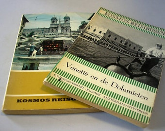 Two Vintage Italy Travel Books Dutch Language Venice Rome Illustrated c1965 italian tourism pocket sized books from Holland guide books 53