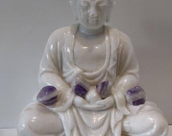 Amethyst healing stone, natural stone, meditation band 13 gr