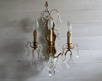French vintage crystal wall sconce, brass bronze wall sconce, Paris apartment, wall lighting, French antique, wall chandelier, wall lamp