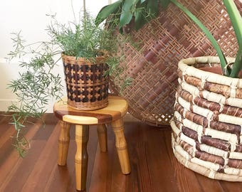 Small Natural Wood Stool • Wood Plant Stand