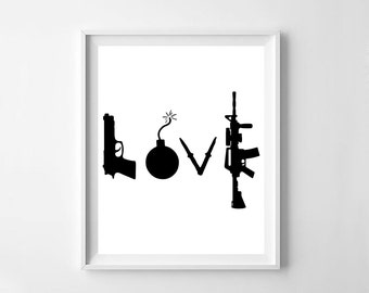 Love, love art, typography printable, wall words, love sign, love quote, wedding gift, love art guns, love printable, typography print