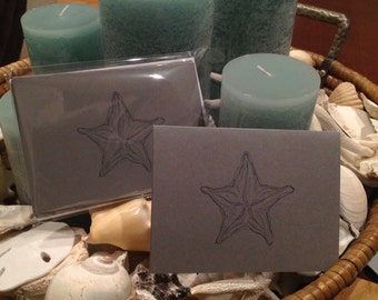 Starfish Notecards,Coastal Notecards,Nautical Cards, Starfish,Shells