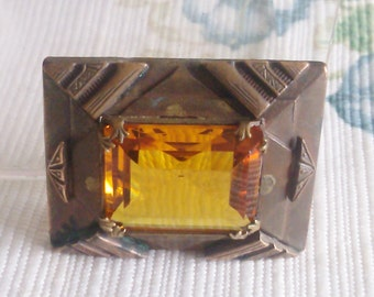 Art Deco Copper and Brass with Amber Color Stone Brooch