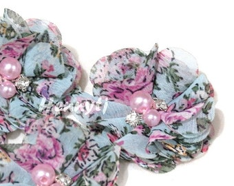 4 pcs Aubrey Vintage Aqua PINK Flowers Garden Patterned -Soft Chiffon w/ PINK pearls and rhinestones Mesh Layered Small Fabric Flowers.
