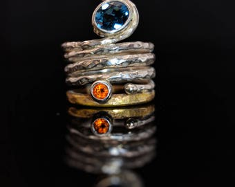 Sterling Silver and Brass ring with Blue Topaz Stone and Citrine