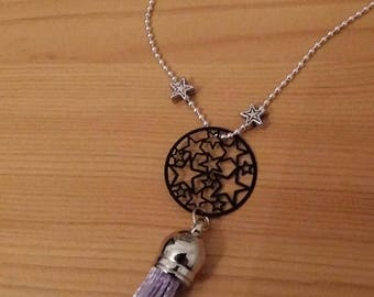 Star necklace, lilac Pom Pom and star beads