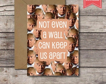 Printable Card / Not Even a Wall Can Keep Us Apart / Funny Donald Trump Political Valentine's Day Card Him Her Anniversary Distance Download