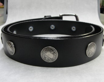 "Handmade in U.S.A. Solid Thick Black Leather Belt with Indian Head nickel Conchos 1-1/2"" ( 38-mm ) 1.5 inch Removable Stainless Steel Buckle"