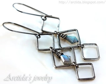 Labradorite jewelry Labradorite earrings oxidized sterling silver squares - square jewelry gothic black teal blue pagan jewelry - Asteria