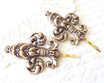Ox Brass Fleur De Lis Hair Pins - Gold Fleur De Lis Bobby Pins - Fleur De Lis Hair Accessories - French Hair - Paris Hair - Bridal Hair Pins