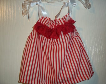 Stripe Red and White Tank Top for baby girls 6-9 months Handmade by Mvious Da'Zigns