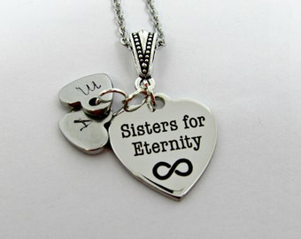Sisters For Eternity Necklace, Sisters Stainless Steel Necklace, Personalized Sisters Necklace, Charm Necklace, Gift For Her