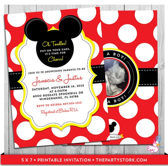 Mickey mouse baby shower invitations unique mickey mouse filmwisefo Image collections