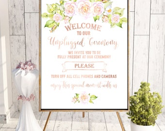 Unplugged Ceremony Sign Rustic Printable Unplugged Wedding Sign No Phones Sign No Cameras Sign No Cell Phone Sign Wedding Rose decor idw94