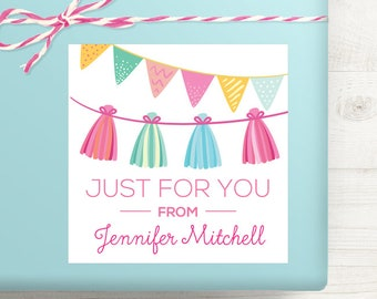 Personalized Birthday Gift Labels - Pink Party Garlands Birthday Gift Stickers - Set of 12