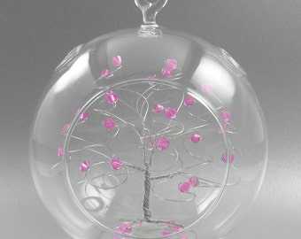 Christmas Ornament  Rose Pink Swarovski Crystal Elements and Silver October Crystal Christmas Ornament