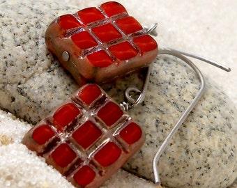 Gift for Her - Hypoallergenic Earrings - Dangle Earrings - Pure Titanium - Dangle Earrings - Red Earrings - Handmade - Beaded Earrings