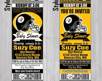 Steelers invitation etsy pittsburgh steelers themed baby shower invitation tickets super bowl nfl football shower party invitations invites new mom expecting filmwisefo