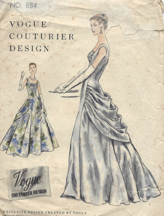 1955 Vintage VOGUE Sewing Pattern B32 DRESS Evening Gown (1151 ...